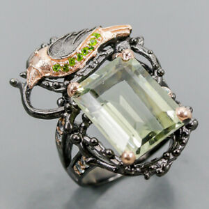 Fine Art SET Green Amethyst Ring Silver 925 Sterling  Size 8 /R162324