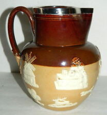 "1898 Doulton Lambeth Hunt 7 5/8"" Pitcher / Jug #2801 w/ Sterling Silver Rim"