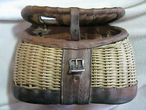 No Number George Lawrence Portland Or Wicker Tooled Leather Fishing Creel 14-9-7