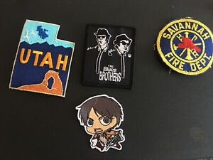 Random Lot Patches Novelty Attack On Titan Blues Brothers