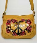 ISABELLA FIORE STUDDED TATTOO ROSE PEACE LOVE HEART YELLOW SHOULDER BAG MRP$495