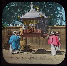 Glass Magic Lantern Slide PRIESTS CARRYING SACRED EMBLEM C1890 JAPAN PHOTO