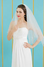 HBH 2 Schicht Brautschleier aus Tüll,mit Blüten bestickt, Länge:60cm/80cm, Ivory