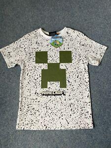 MINECRAFT White Splatter Print Short Sleeve CREEPER T-Shirt Age 6-7 Years NEW