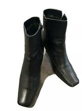 Womens Ladies Black Leather Ankle Zip Up Boots Shoes Size 5/38 By Lotus