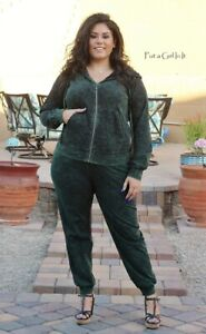 PLUS SIZE Womens MINERAL GREEN TIE DYED HOODIE SWEATSUIT JOGGER SET 1X 2X 3X