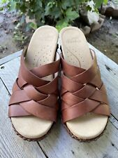 Dansko Tory Sandals Clogs Women's 36 US 6 Brown Leather Wood Strappy Studded