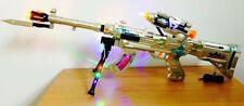 AK-47 MACHINE GUN con luce intermittente, alimentate con SUONO + proiettili ROTANTE - 65cm