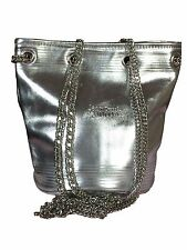 New Jean Paul Gaultier Metallic Silver Bucket Tote Bag with Chain Straps