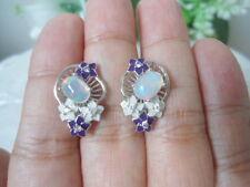 Natural OPAL & White CZ Stones Sterling 925 Silver Flower ENAMEL EARRINGS
