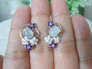 Natural OPAL & White CZ Stones Sterling 925 Silver Flower ENAMEL EARRINGS