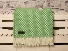 Green & Cream Large Tweedmill Twill Throw, Blanket or Picnic Blanket