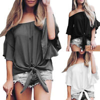 Women Lady Solid Off Shoulder Bell 3/4 Sleeve Shirt Tie Knot Casual Blouses Tops