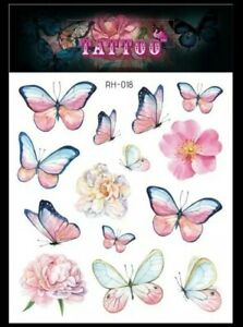 💕 PINK BUTTERFLY Temporary Tattoos UK Festival body Art Girls Transfers Fake 🦋