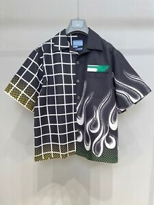 Falection 21SS MILANO ITALY P BLACK FLAME PRINTED NYLON SHIRT BUTTONS UP TOP