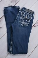 LA Idol Jeans Dark Wash Rhinestone Embellished Stitching Womens Sz 3 Inseam 33""