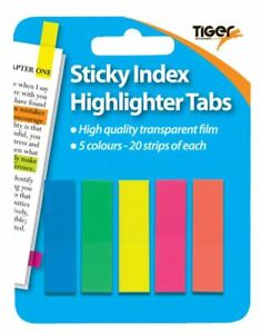 100 Neon Sticky Index Highlighter Tabs Adhesive Post Flags It Neon Page Marker