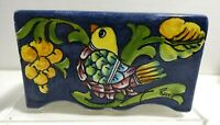 MT-1 ITALY ART POTTERY BOX SHAPE VASE, HAND PAINTED BIRD
