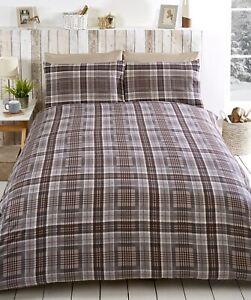 Highland Tartan Check Duvet Cover Flannelette Brushed Cotton Bedding Set King