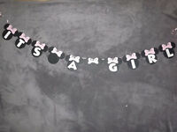 """Minnie Mouse """"It's A Girl"""" Banner. Great for Baby Showers!!"""