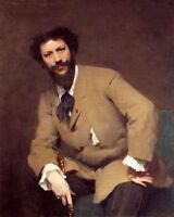 Art Oil painting Sargent - Male portrait Carolus-Duran seated canvas
