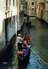 The Gondolier A4 A3 or A2 limited edition print of Venice painting by RussellArt