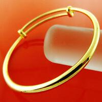 BANGLE BRACELET GENUINE REAL 18K YELLOW G/F GOLD SOLID GIRLS GOLF CUFF DESIGN