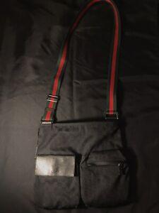 GUCCI GG MESSENGER DOUBLE POCKET BLACK SHOULDER BAG SATCHEL MANBAG ALL AUTHENTIC