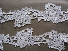 4 YDS LOVELY OFF-WHITE BRIDAL FLORAL RAYON VENISE LACE GALLOON