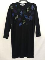 Liz Claiborne Womens Black Sweater Dress Size 8 Wool Acrylic EUC