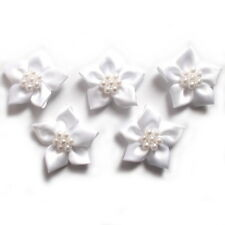 Poinsettia Flower Satin Ribbon Bows With Pearl Effect Bead Circle 3.5cm Wide White 5