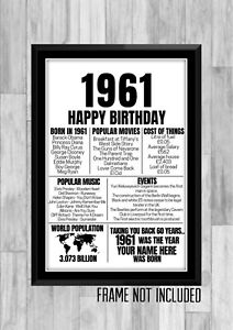 60th 1961 Personalised Birthday Gift Present Poster Print Back In Milestone
