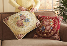 Set Of 2 Floral Medallion Sofa Accent Pillow Covers with Golden Touch Tapestry
