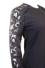 £1200 Christopher Kane Black Lace Sleeve Frill Designer Dress UK 8