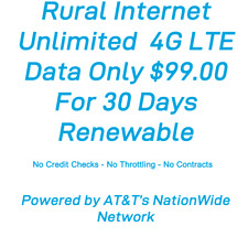 ATT Rural Internet Unlimited  4G LTE Data Plan  Hotspot  30 Day Renewable