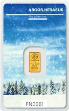 Following Nature Goldbarren 1g 1 Gramm Winter Argor Heraeus Blister Gold 99,99