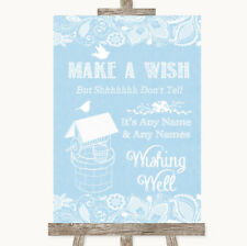 Wedding Sign Poster Print Blue Burlap & Lace Wishing Well Message