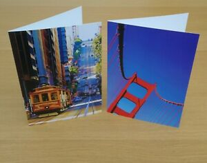 2 x San Francisco themed Greetings Cards - A5 - white envelope - Blank - Photo