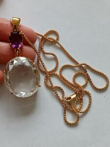 10Kt White Topaz and Amethyst Necklace