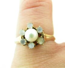 Antique Victorian Rose Gold Moonstone & Pearl Ring Size 5.5