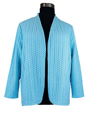 TALBOTS WOMEN'S BLUE LONG SLEEVE W/ POCKETS OPEN FRONT QUILTED JACKET PLUS Sz 3X