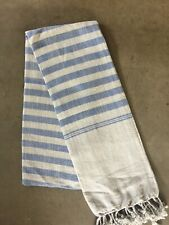 Krama Gray Blue Scarf Cotton Traditional Khmer Cambodia Woven Hand Mixed 97