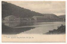 Factories along Allegheny River OIL CITY PA Vintage Venango County Postcard
