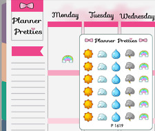 P1619 Kawaii Multi Weather Trackers Planner Stickers