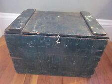 Antique Peters Remington Arms Shotgun Shell Wood Box Folk Art Green Paint AAFA