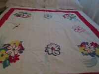 Cotton Red Yellow Flowers on White Tablecloth Luncheon Cloth Heavy Cotton As Is