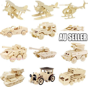 Kid's 3D Mini Natural Wooden Toy Puzzle Party Fun 9 Styles Tram Bus DIY Model