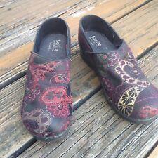 Sanita Black Metallic Embroidery Clogs Vegan Slip On Womens 7.5 8 EU 38 Shoes