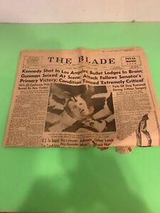 Toledo Blade  June 5,1968 Kennedy Shot In Los Angles