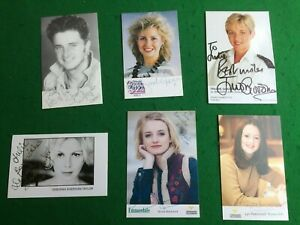 Signed photographs x 6 TV autograph Emmerdale The Bill  Saturday Superstore etc.